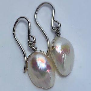 Lustrous Pearl Earrings & 925 Sterling Silver!